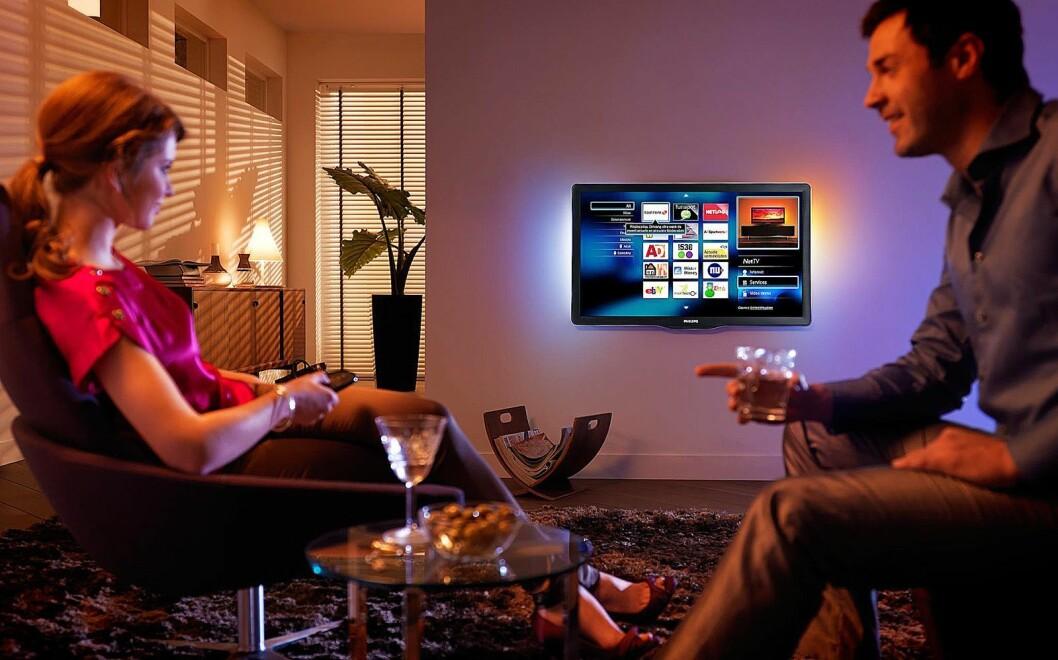 Nordmenn ser fortsatt helst på TV-skjermen, og stadig flere tar i bruk en eller flere av strømmetjenestene som er tilgjengelige. Foto: Philips.