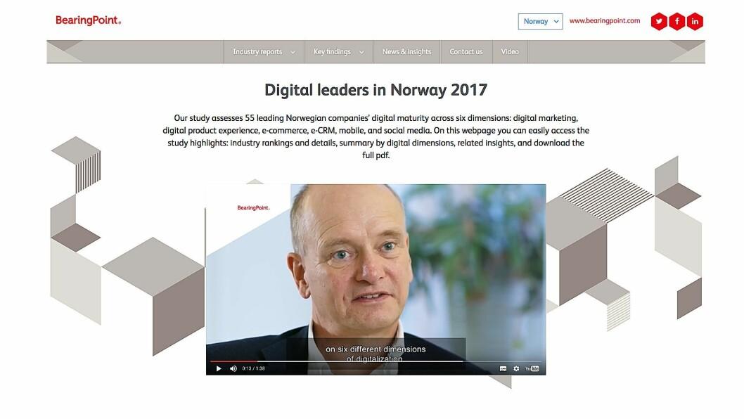 BearingPoint presenterer undersøkelsen av norske virksomheters digitale modenhet på sine nettsider (skjermdump).