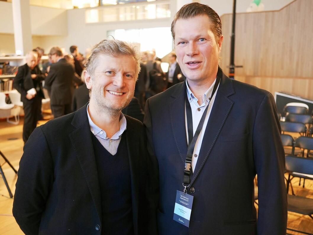Hans Christian Andersen (t. v.) i Sahaga AS og Harald Kristiansen i TT Micro AS er blant de få fra leverandørene som deltar i forbindelse med FM-slukkingen i Nordland. Foto: Stian Sønsteng.