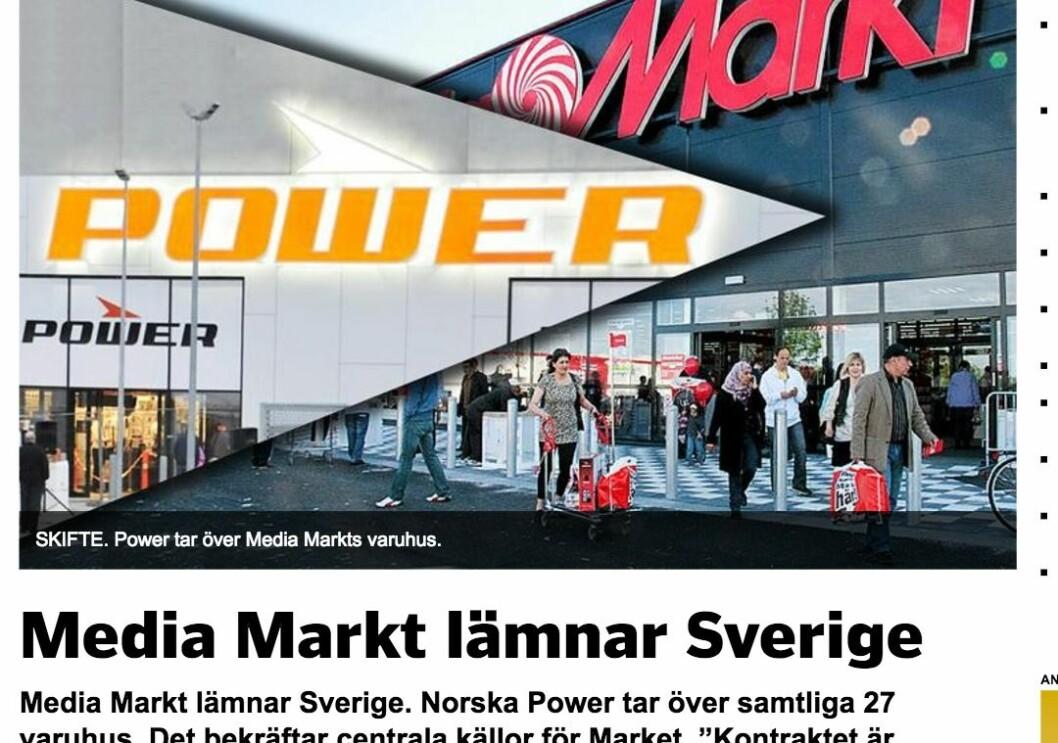 «Market avslöjar» heter det på Market.se når de skriver at norske Power tar over de 27 varehusene til Media Markt. Skjermdump.