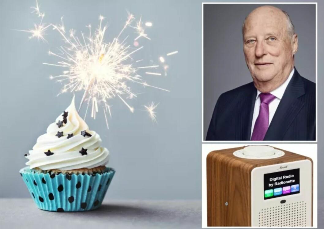 Slik illustrerer Lefdal i sin pressemelding at de gir Kongen en Radionette-radio i 80 års-gave. Skjermdump.