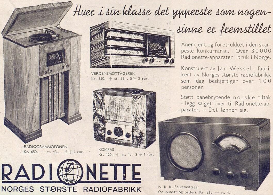 Radionette annonserte i første utgave av Radiohandleren, nr. 1/1937, som kom ut måneden før Kong Harald ble født.