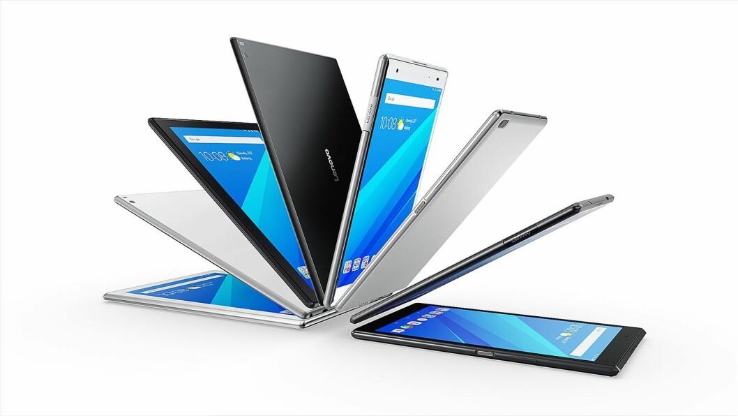Tab4-nettbrettene kommer i fire ulike versjoner. Foto: Lenovo.