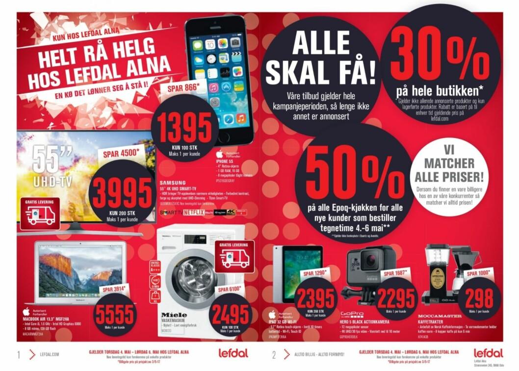 Lefdal Alna ønsker den nye Power-butikken velkommen med å gi 30 prosent rabatt på hele butikken - bortsett fra allerede annonserte produkter - fra 3. til 6. mai. De to butikkene ligger på hver sin side av E6. (Skjermdump)