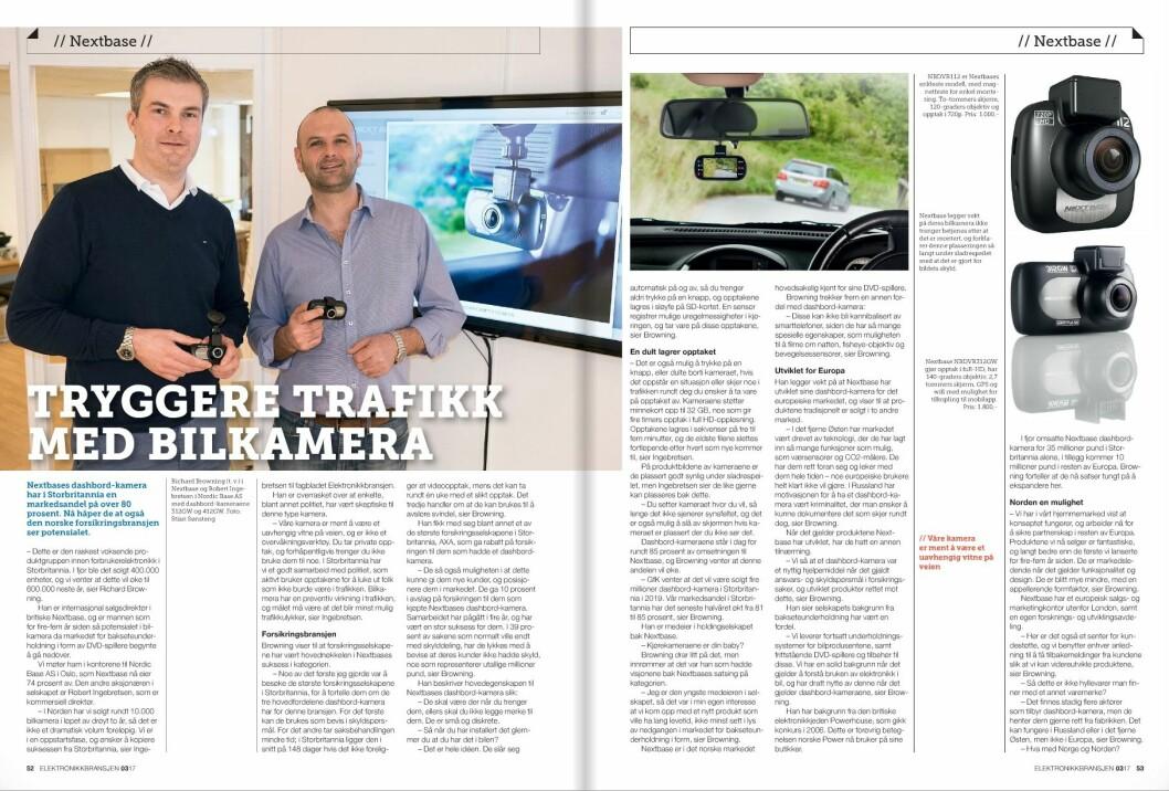 Les artikkelen om Nextbase i fagbladet Elektronikkbransjen nr. 3/2017.