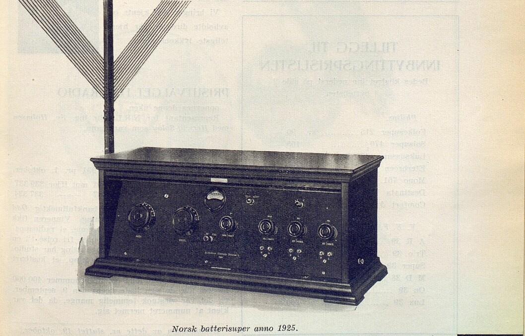 Norsk batterisuper anno 1925 var avbildet i nr. 7/1939, i anledning NRLs 15 års-jubileum.