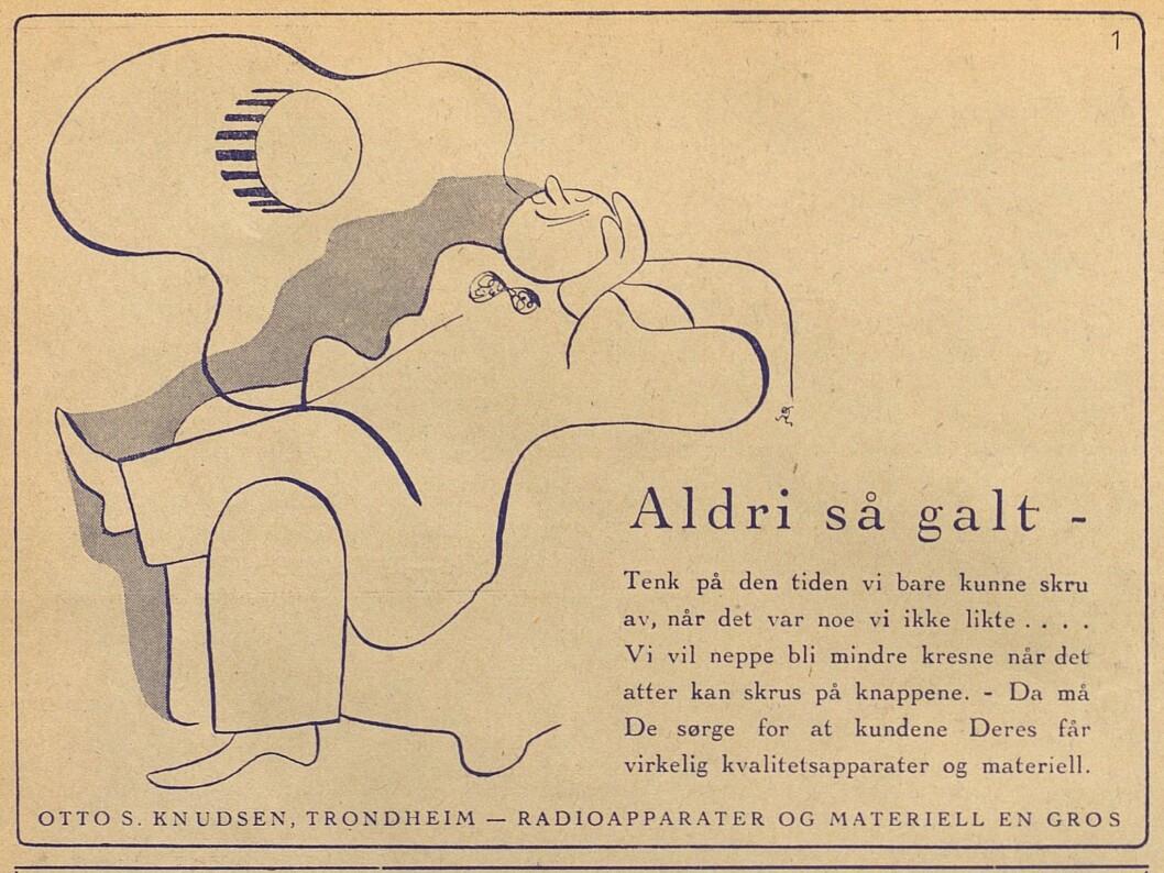 Otto S. Knudsens annonse i nr. 3/1943, to år etter bestemmelsen kom om at det kun var NS-medlemmer som fikk ha radio.