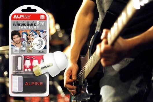 Alpine MusicSafePro skal beskytte hørselen til musikere. Ørepropper med tre utskiftbare filtre med forskjellig dempingsgrad. Pris: 300,-.