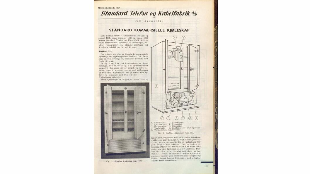 I nr. 6/1941 som kom ut i desember presenterte Standard Telefon og Kabelfabrik sine kommersielle kjøleskap.