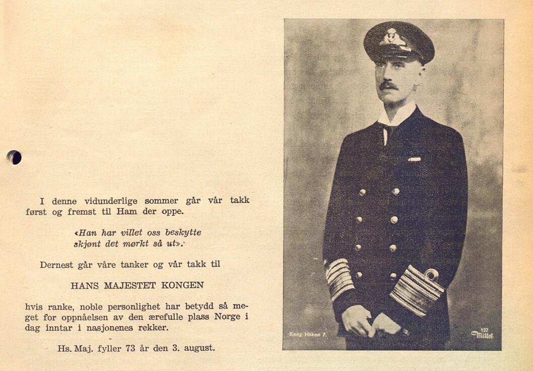 Denne hilsenen til Kong Håkon 7. sto i nr. 1/1945.
