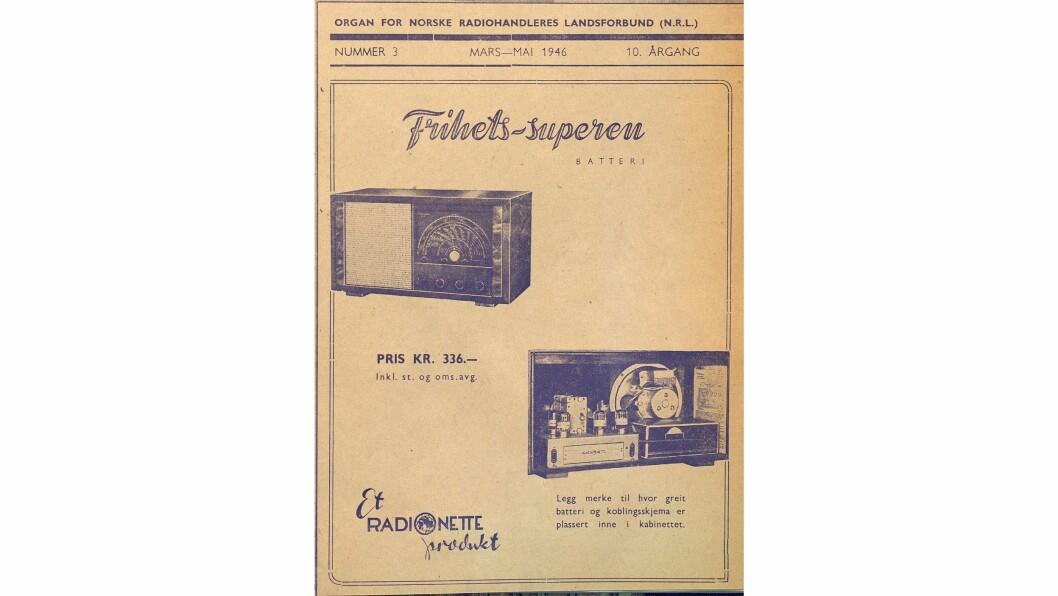 I nr. 3/1946 annonserte Radionette for Frihets-superen.
