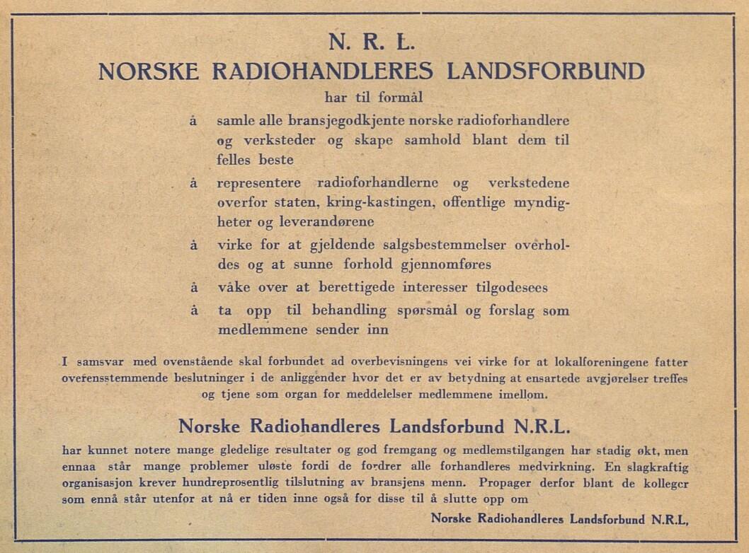 Egenannonse for NRL i Radiohandleren nr. 1/1946.