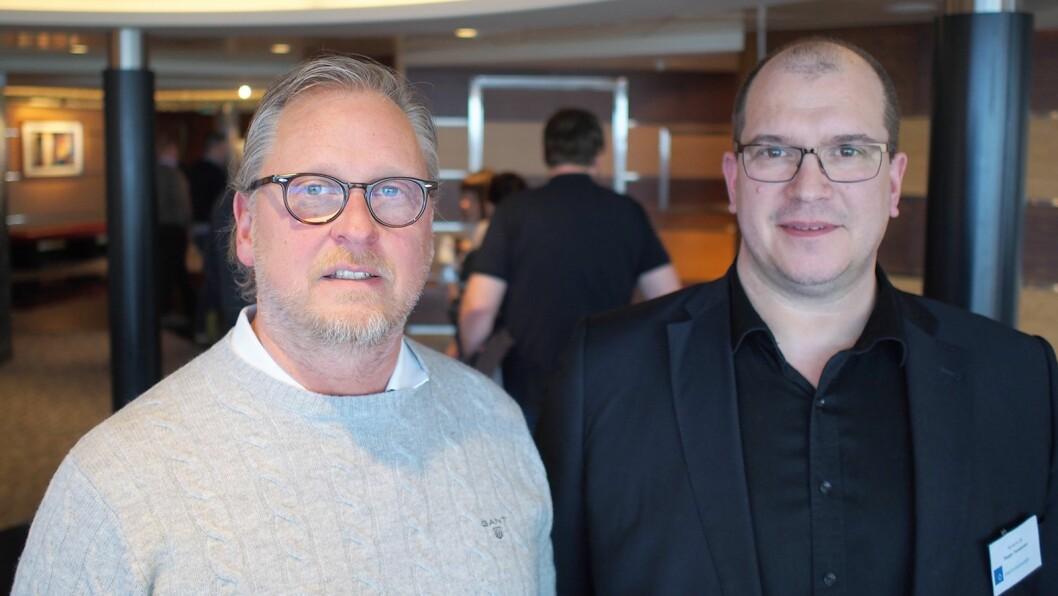 Håkon Johansson (t. v.) og Seppo Taskanen fra Reclaimit demonstrerte sitt servicesystem på Vårkonferansen. Foto: Jan Røsholm