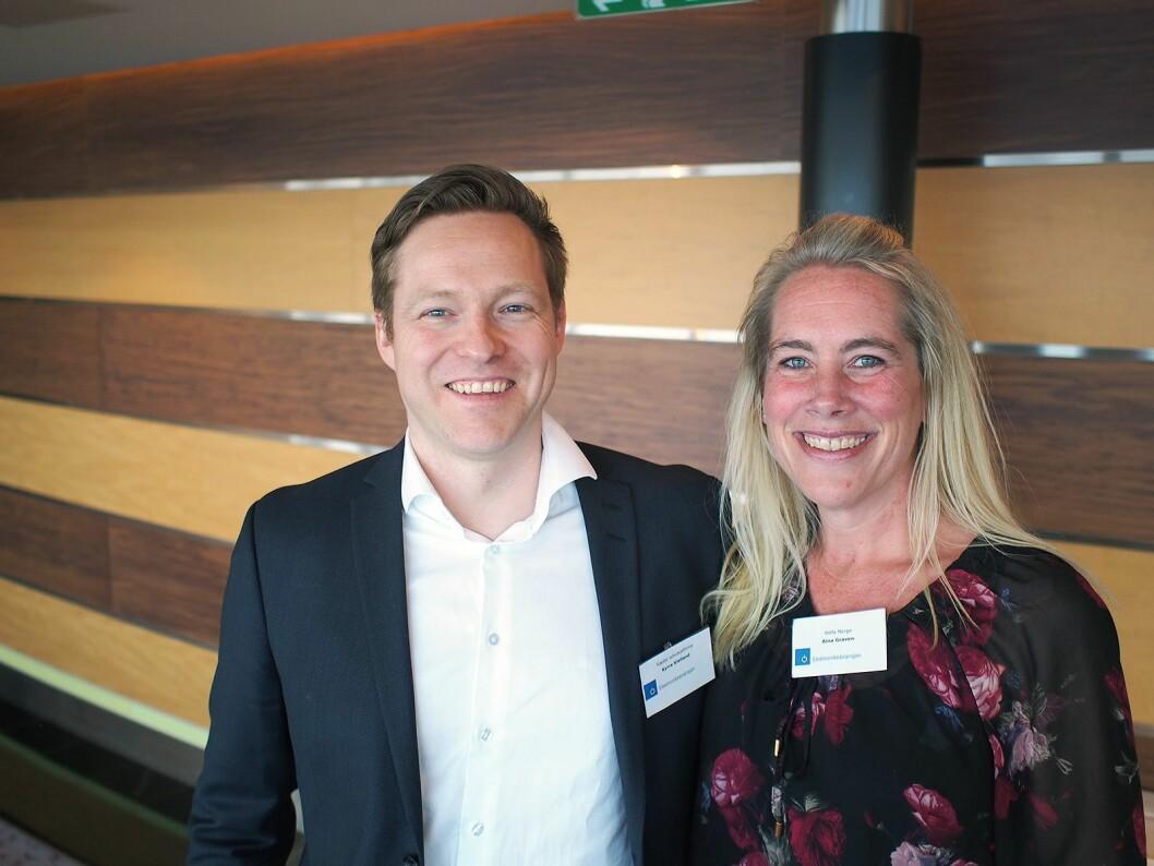Kyrre Kielland fra Advokatfirma Ræder og Aina Graven fra Wilfa var to av foredragsholderne på Elektronikkbransjens vårkonferanse 2017. Foto: Jan Røsholm