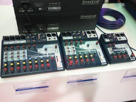 Soundcrafts miksere Notepad S, FX8 og FX12 har én, to og fire mikrofoninnganger.