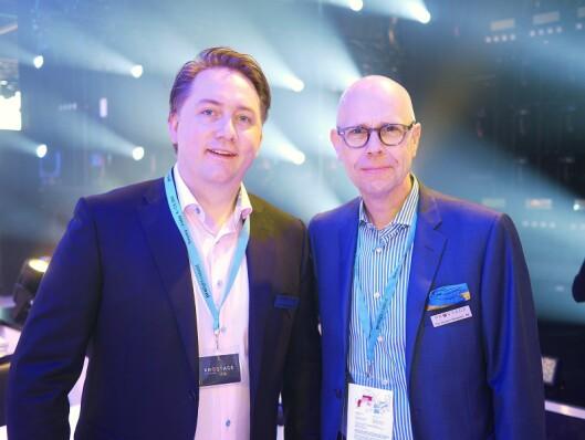 Gunnar Waldemar Naas (t. v.) i Prostage AS har hentet inn Øystein Berglund for å blåse liv i lyd-produktene til selskapet.