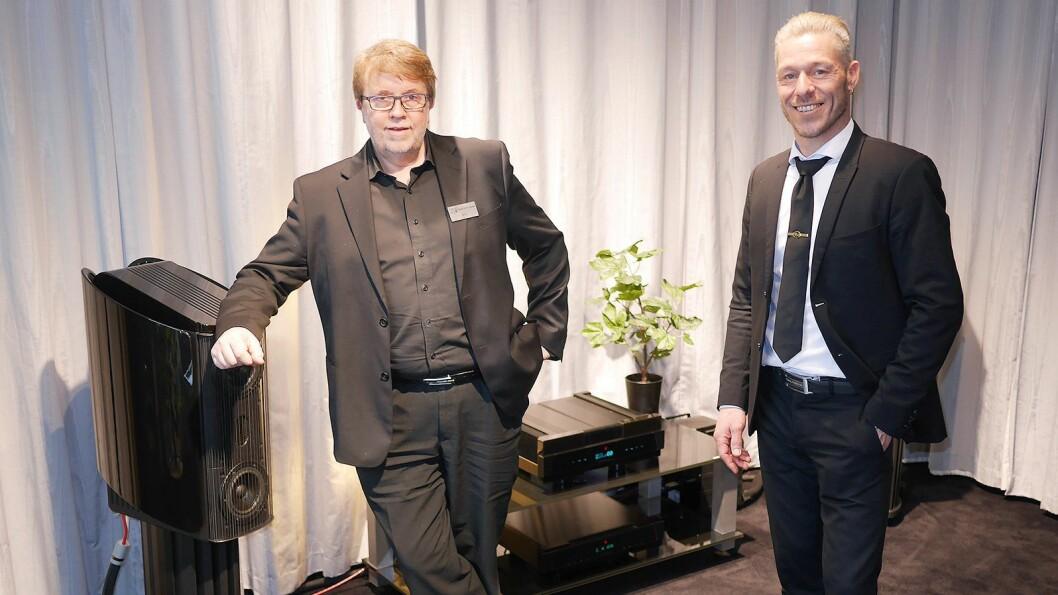 Innehaver Geir Tømmervik (t. v.) i Oslo Hi-Fi Center og europeisk salgsdirektør Rune Skov i Gryphon Audio Designs. Foto: Stian Sønsteng