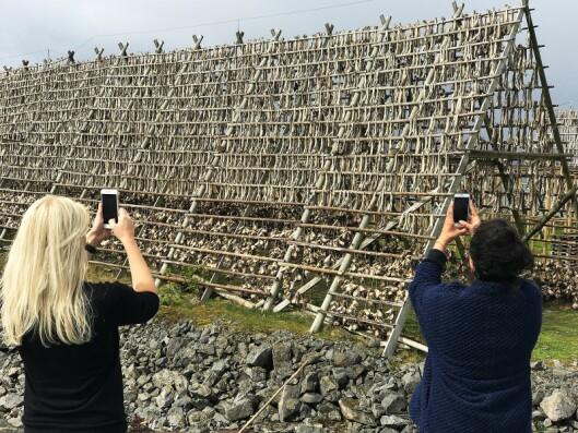 Et par av bloggerne benyttet anledningen til å fotografere noen av fiskehjellene i Henningsvær. Foto: Stian Sønsteng.