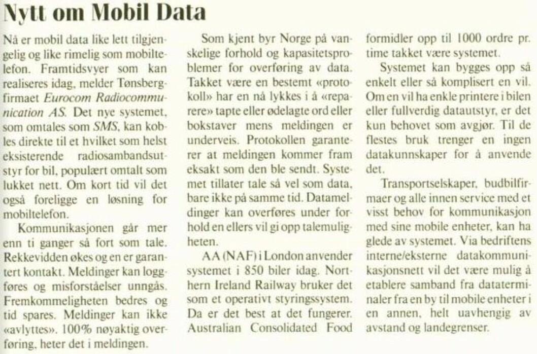 Vi omtalte SMS første gang i 1988, i Radiobransjen nr. 4.