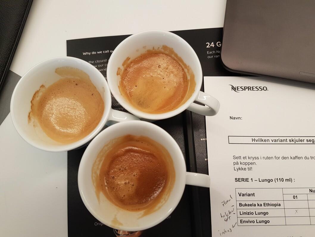 En smakstesting hos Nespresso involverer smaksnotater og ulike kaffetyper. Foto: Marte Ottemo