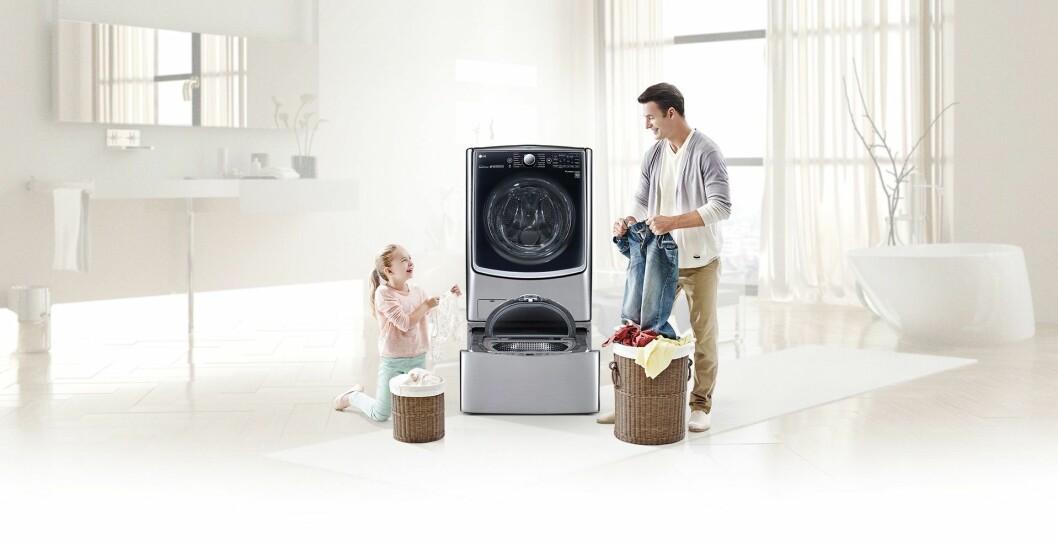 LGs TwinWash-maskin har to separate tromler, som lar deg vaske ulikt tøy samtidig. Foto: LG