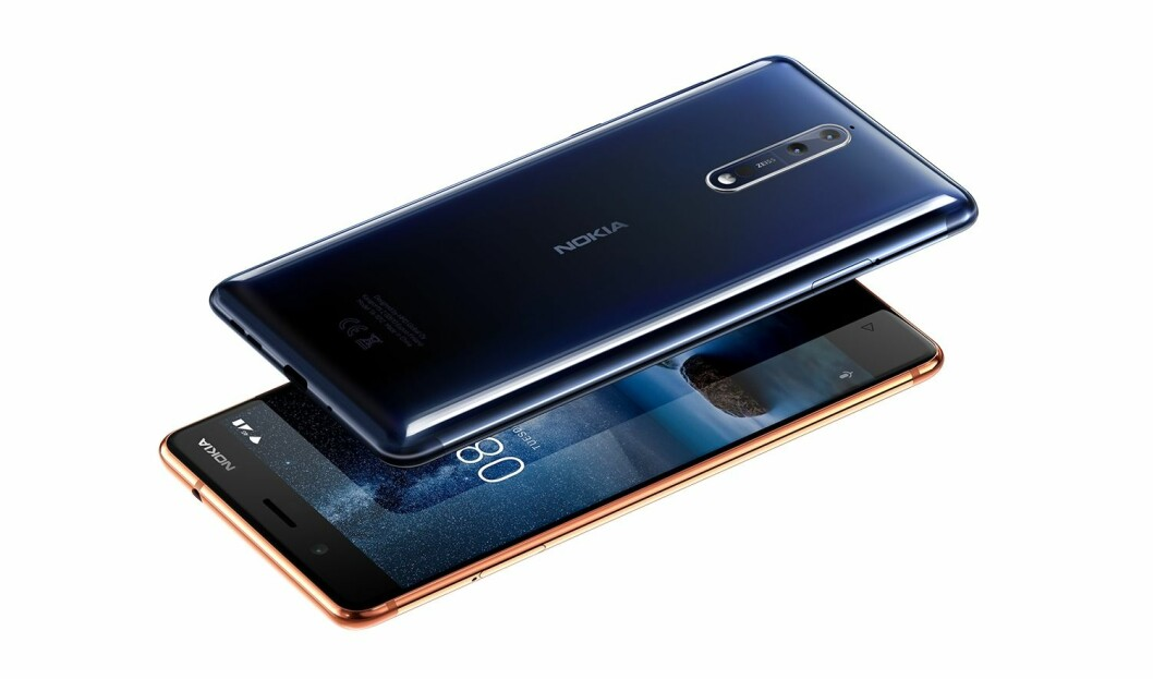 Nokia 8, her i polert blått og kobber. Foto: Nokia