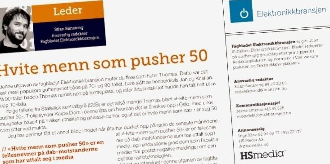 «HVITE MENN SOM PUSHER 50» OG DAB
