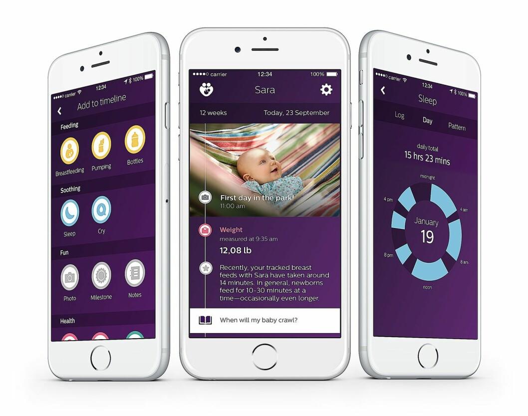 Philips' uGrow-app registrerer data fra ulike produkter, og kan også brukes til å følge barnets utvikling med bilder og tekst.