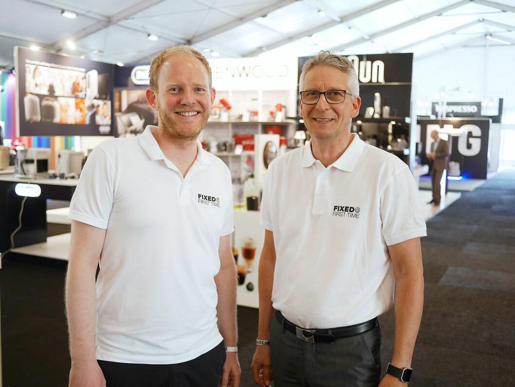Andre Haug Omdal (t. v.) er nordisk ettermarkedssjef, mens Lorentz Jacobsen er nordisk tjeneste- og ettermarkedsdirektør..