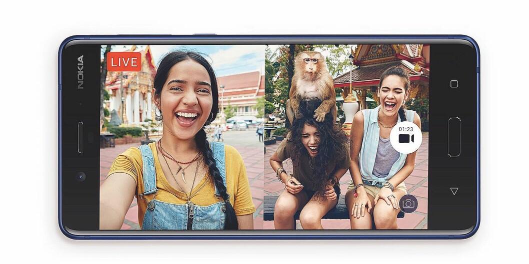 Ved å bruke både front- og hovedkameraet lager Nokia 8 bilder og video med delt skjerm, slik at den som tar bildet også kan være med. Foto: Nokia