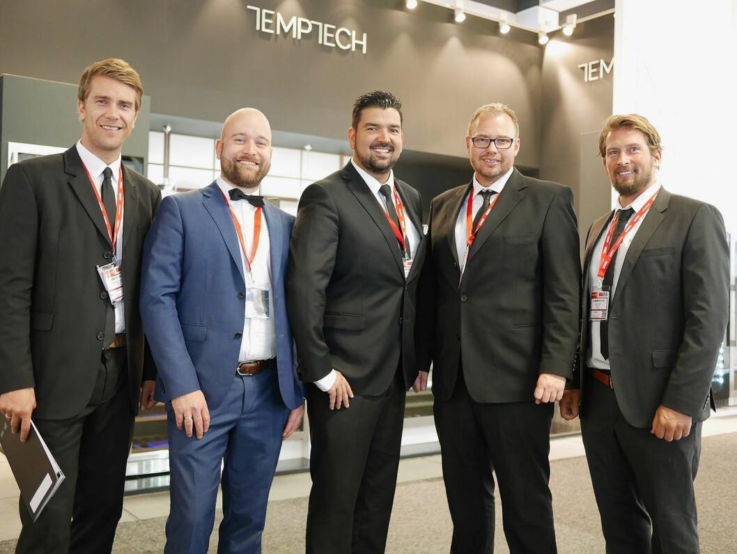 Temptech stilte med fem ansatte på IFA. Fra venstre Carsten Andreas Foyn Bruun, Armand Gustavson, Christian Dugal, Lars Feen og Christoffer Hamer. Foto: Stian Sønsteng.