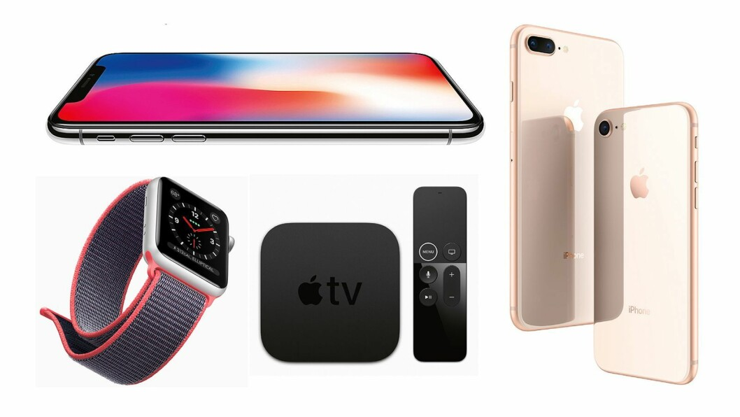 Apple Watch 3, iPhone X, Apple TV 4K, iPhone 8 Plus og iPhone 8. Foto: Apple
