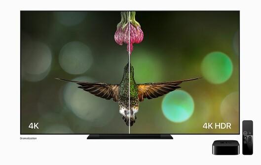Slik ønsker Apple å vise forskjellen på et 4K-bilde med og uten HDR i Apple TV 4K. Foto: Apple.