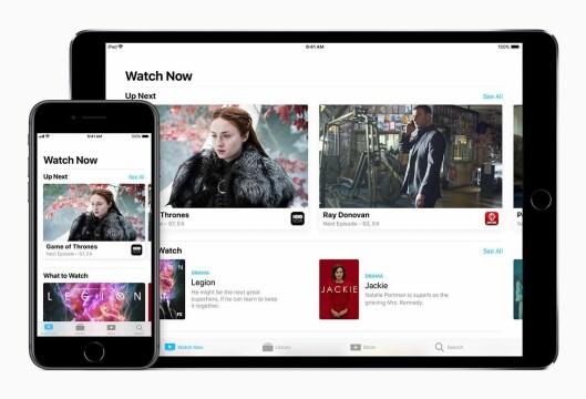 Med den nye Apple TV-appen blir innholdet i Apple TV også tilgjengelig på iPhone og iPad. Appen slippes i Norge mot slutten av året. Foto: Apple.