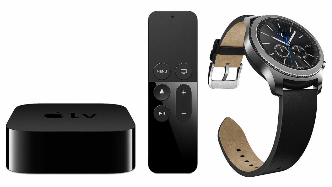 Apple TV 4K HDR og Samsung Gear S3 er begge kåret til «Årets smartprodukt 2017/2018». Foto: Apple/Samsung