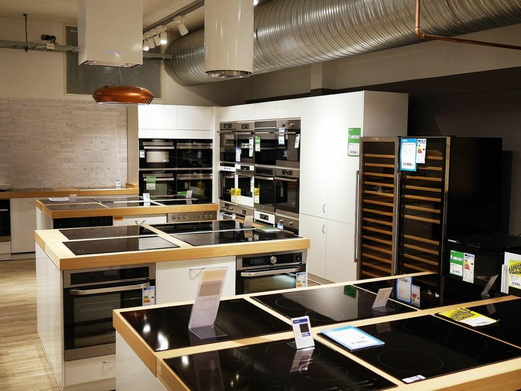 Hvitevarene har fått større plass etter ombyggingen av Euronics Stormarked Lambertseter. Foto: Stian Sønsteng.