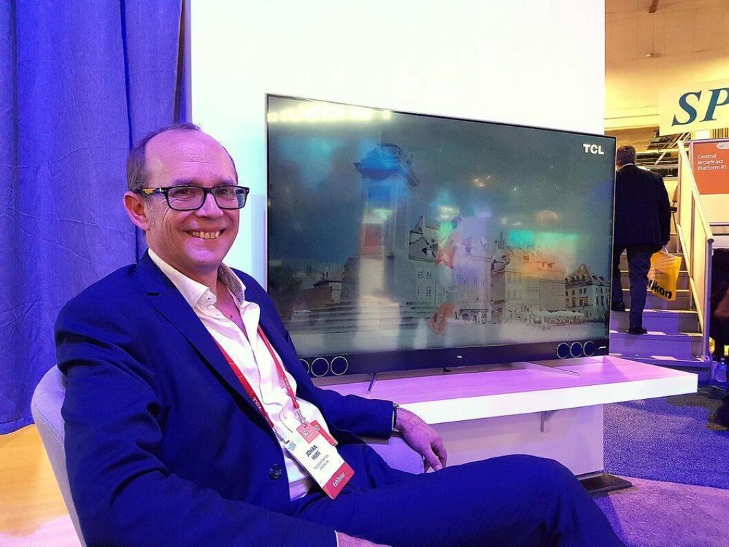 Johan Huss, TCLs salgssjef for Norden, Storbritannia og Baltikum, håper å kunne lansere lydprodukter fra selskapet i andre kvartal. Foto: Marte Ottemo.