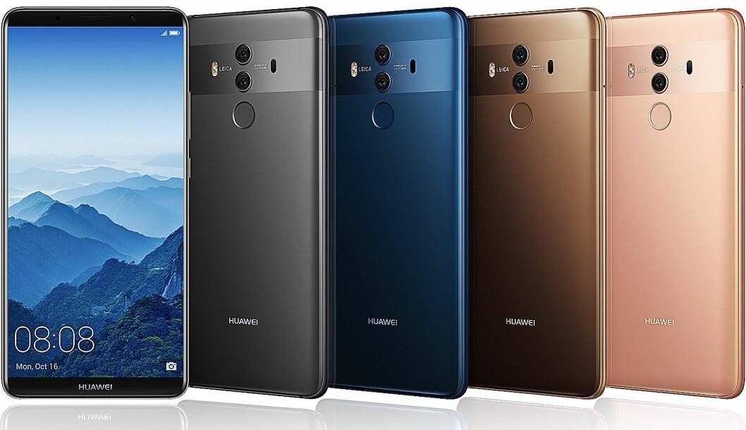 Huawei Mate 10 Pro kommer i fargene Titanium grå, Midnight blå, Mocha brun og Pink gull. Foto: Huawei.