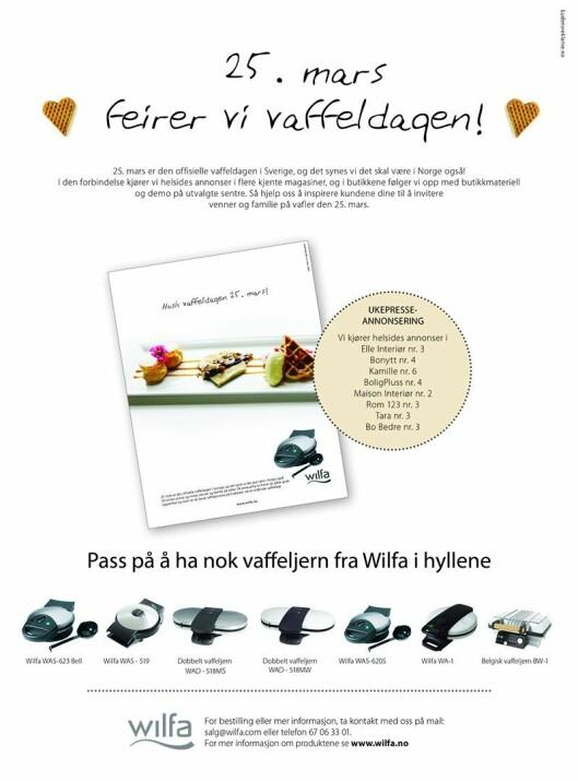 Denne annonsen rykket Wilfa inn i fagbladet Elektronikkbransjen nr. 2/2010. Denne var en direkte foranledning til at også Stiftelsen Elektronikkbransjen begynte å markere dagen.