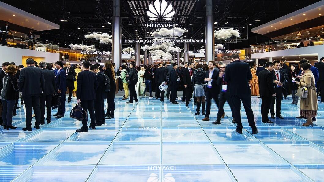 Huawei var tungt til stede under årets MWC-messe, og hadde hele tre ulike utstillinger. Her fra infrastruktur-delen av messen. Foto: Huawei