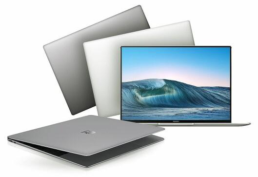 På Huawei Matebook Pro X dekker skjermen nå hele 91 prosent av framsiden, mot Apple MacBook Pros 82 prosent. Foto: Huawei.