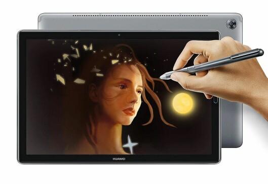 Nye Mediapad M5 kommer også i en versjon med penn. Foto: Huawei.