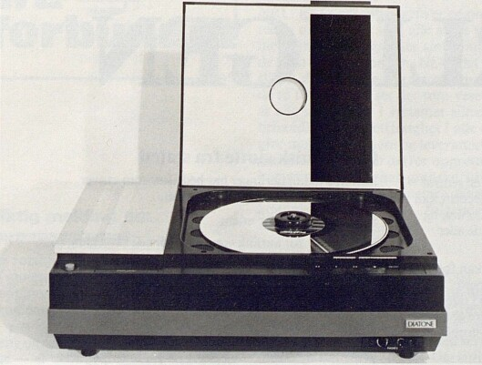 Mitsubishi viste også en VLP-spiller modifisert for lydgjengivelse. Blant annet var hastigheten her satt ned til 400 omdr./min. Bilde fra Radiobransjen nr. 10/1979.