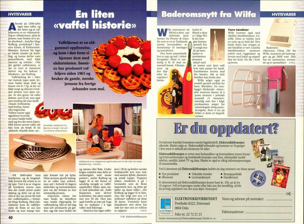 I fagbladet Elektronikkbransjen nr. 7/1995 forteller produktsjef Hege Kolberg i Sønnico Elram at selskapet har produsert vaffeljern siden 1963.