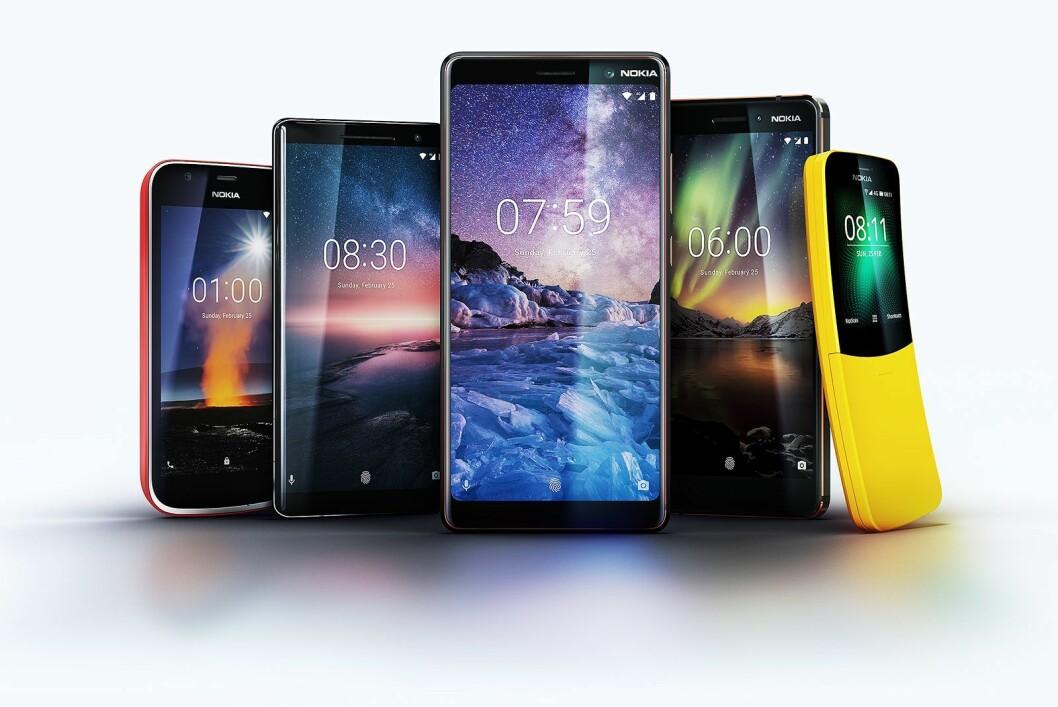 Nokia 1, Nokia Sirocco 8, Nokia 7 Plus, Nokia 6 og Nokia 8110 ble alle lansert under årets Mobile World Congress. Foto: Nokia