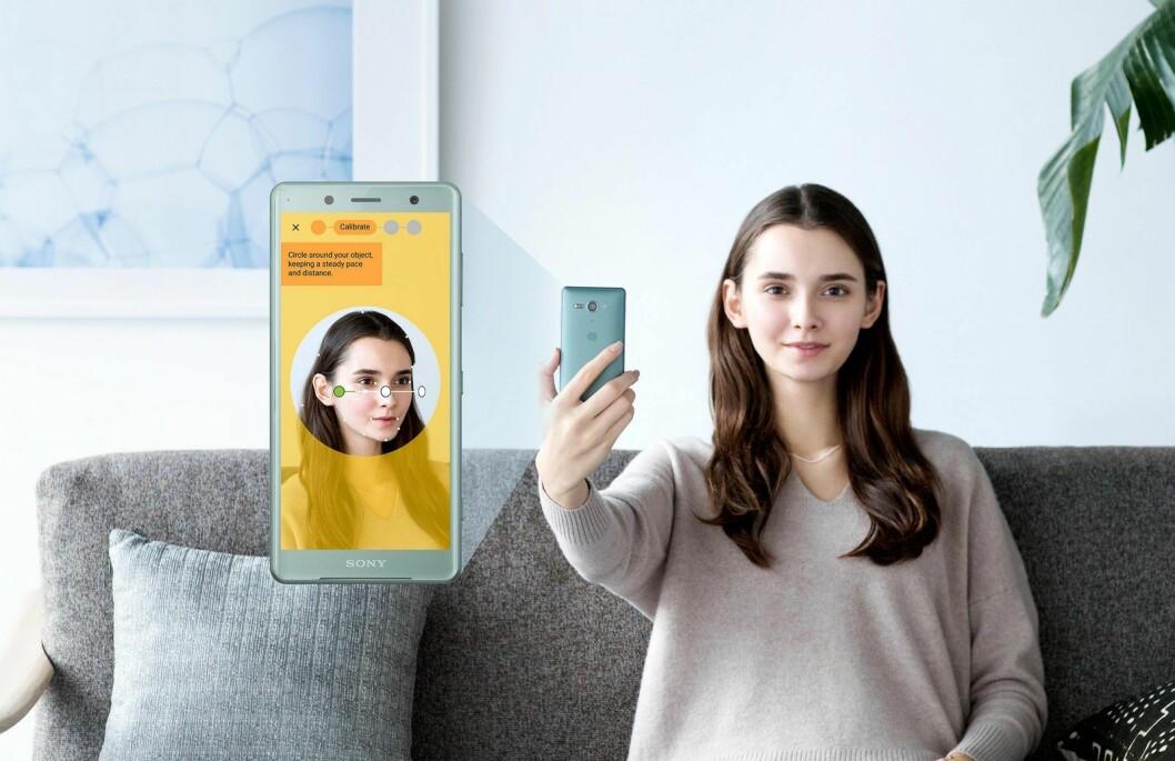 Nå kan du også 3D-skanne deg selv via frontkameraet på XZ2 og XZ2 Compact. Foto: Sony.