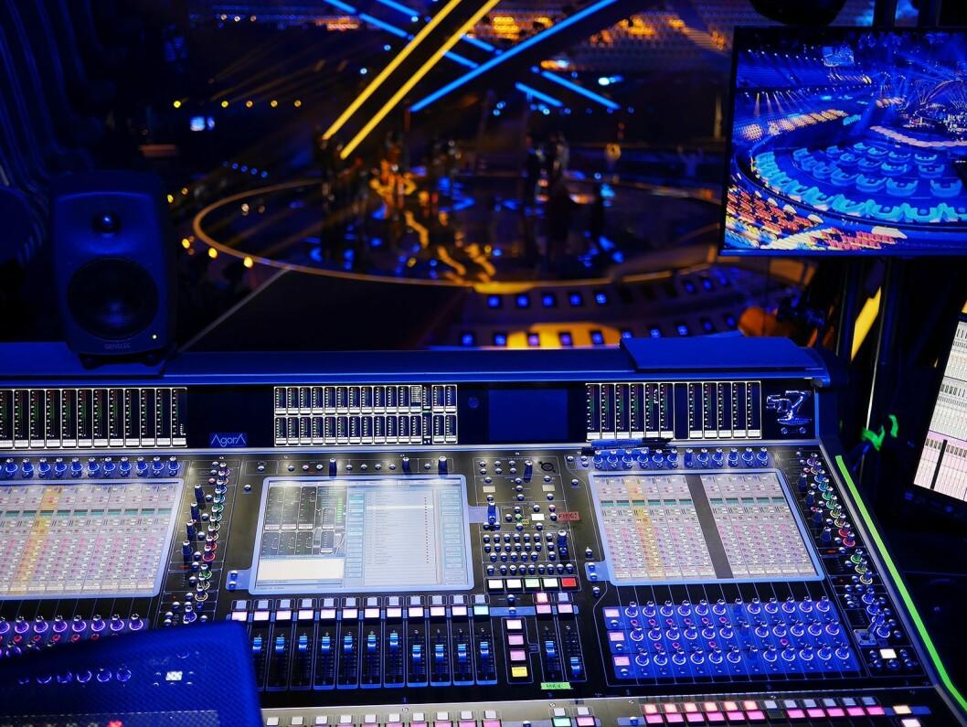 Ikke noe å si på utsikten til lydfolket under Eurovision Song Contest 2018 i Lisboa. Foto: Stian Sønsteng