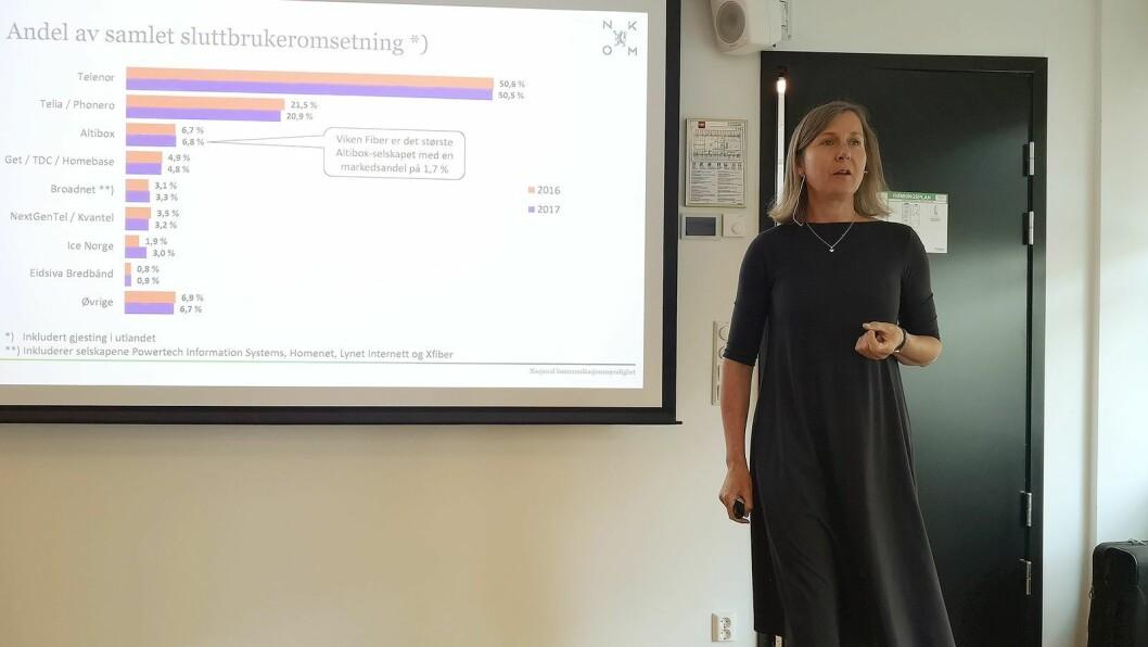 Nkom-direktør Elisabeth Aarsæther kunne vise til en vekst for norsk ekomsektor i 2017. Foto: Marte Ottemo