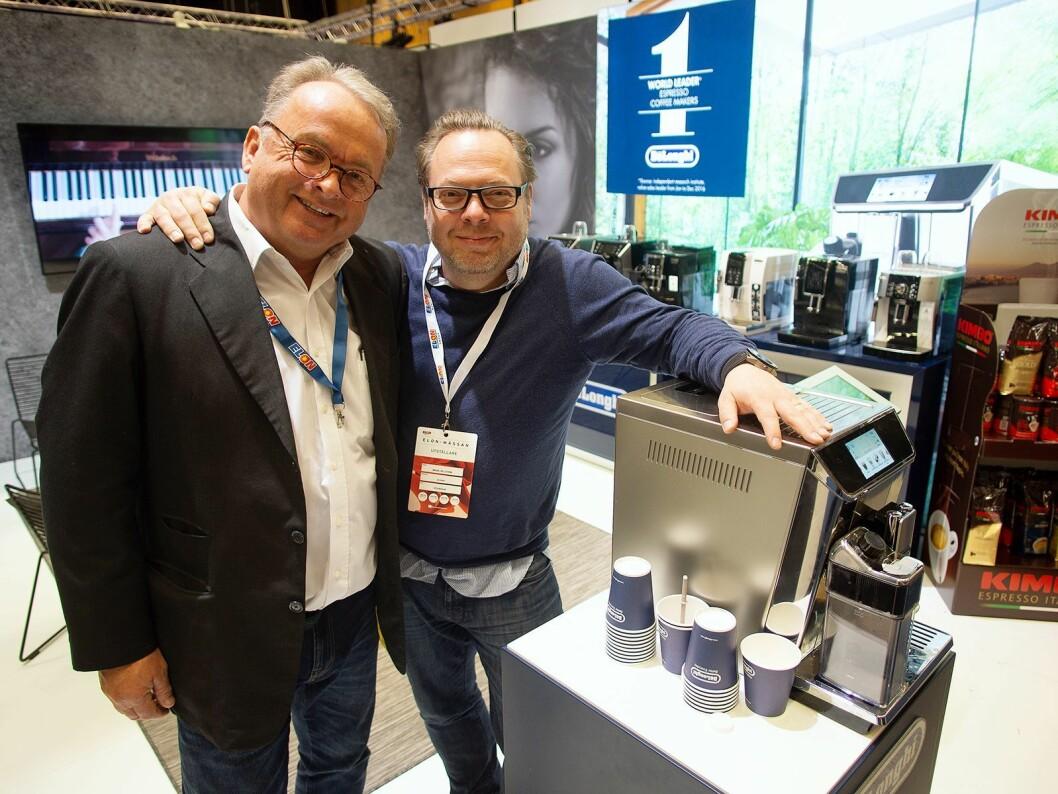 Martin Vinje (t. v.) og Mikael Hellström i DeLonghi på Elon-messen 2018. Foto: Ola Larsson