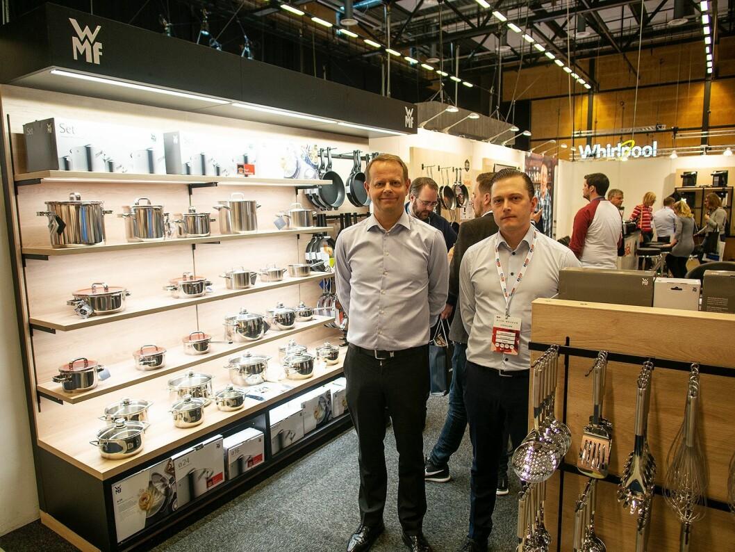 Johan Eklind (t. v.) og Rasmus Gammelgaard fra Tefal-OBH Nordica Group på Elon-messen 2018. Foto: Ola Larsson